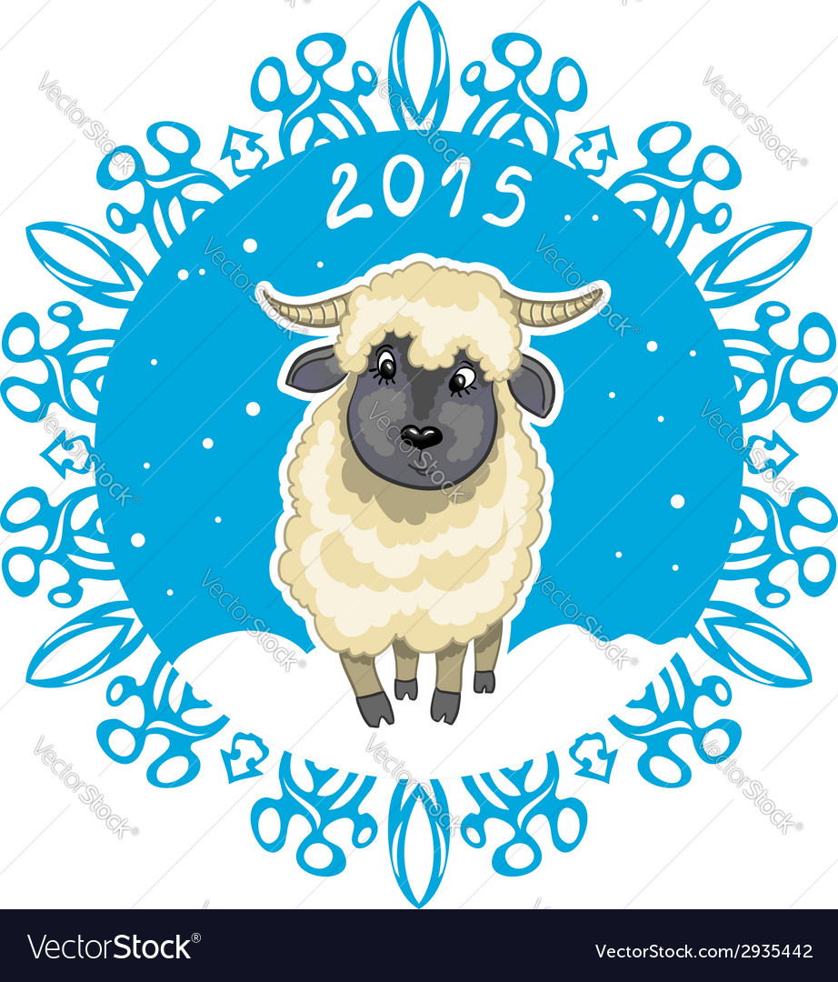 Card with snowflake and little cute sheep symbol vector | Price: 1 Credit (USD $1)