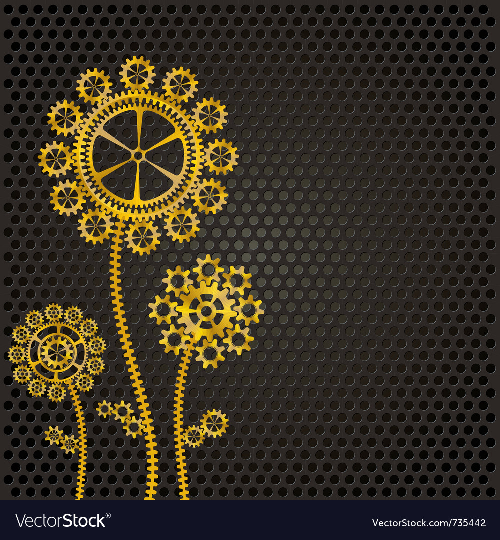 Golden gear flowers vector | Price: 1 Credit (USD $1)