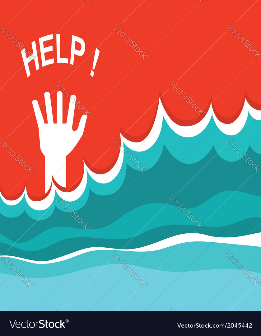 Hand of drowning poster vector | Price: 1 Credit (USD $1)