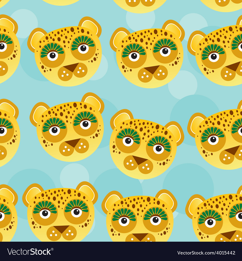 Leopard seamless pattern with funny cute animal vector | Price: 1 Credit (USD $1)