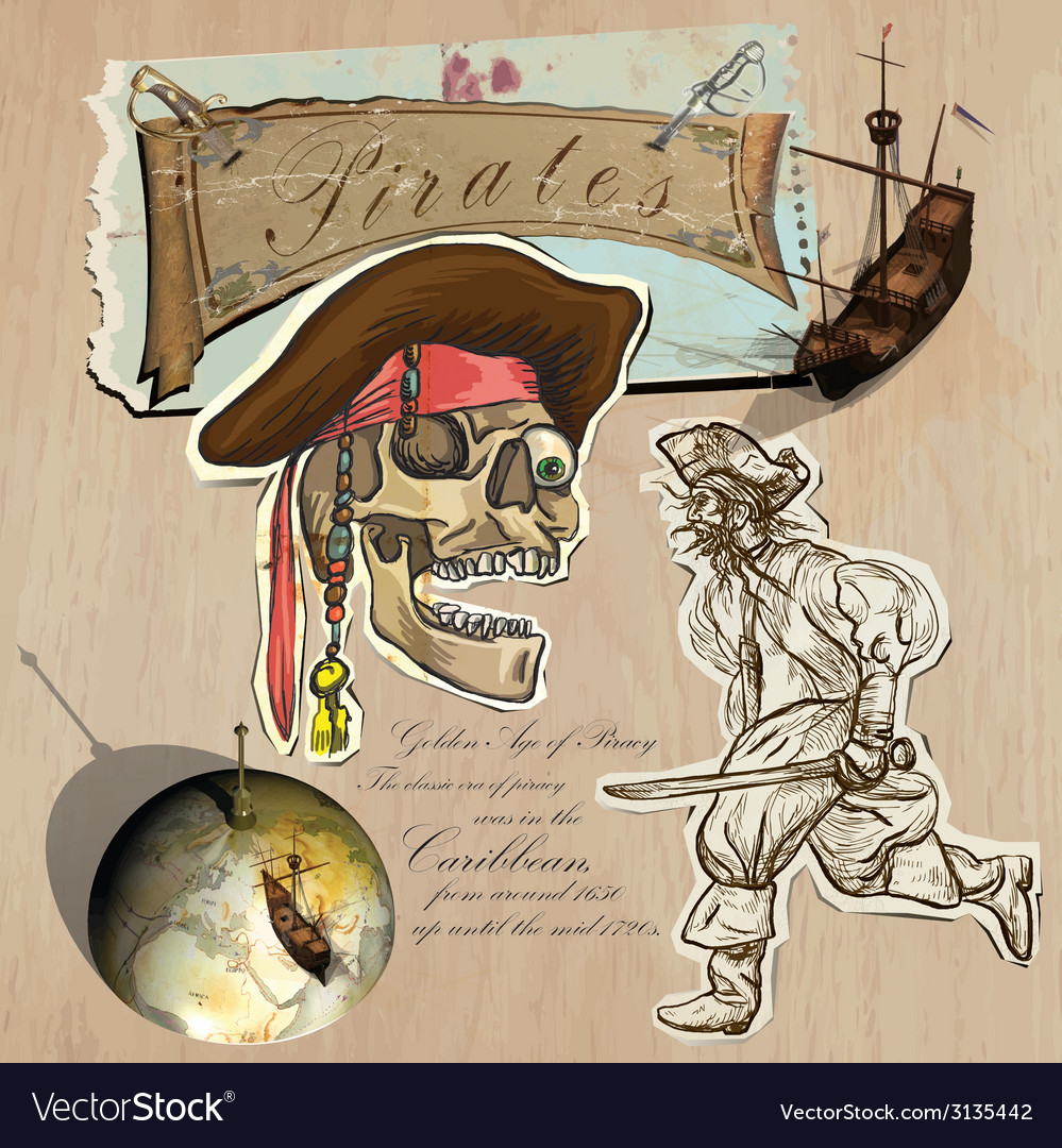Pirates - golden age hand drawn and mixed media vector | Price: 1 Credit (USD $1)