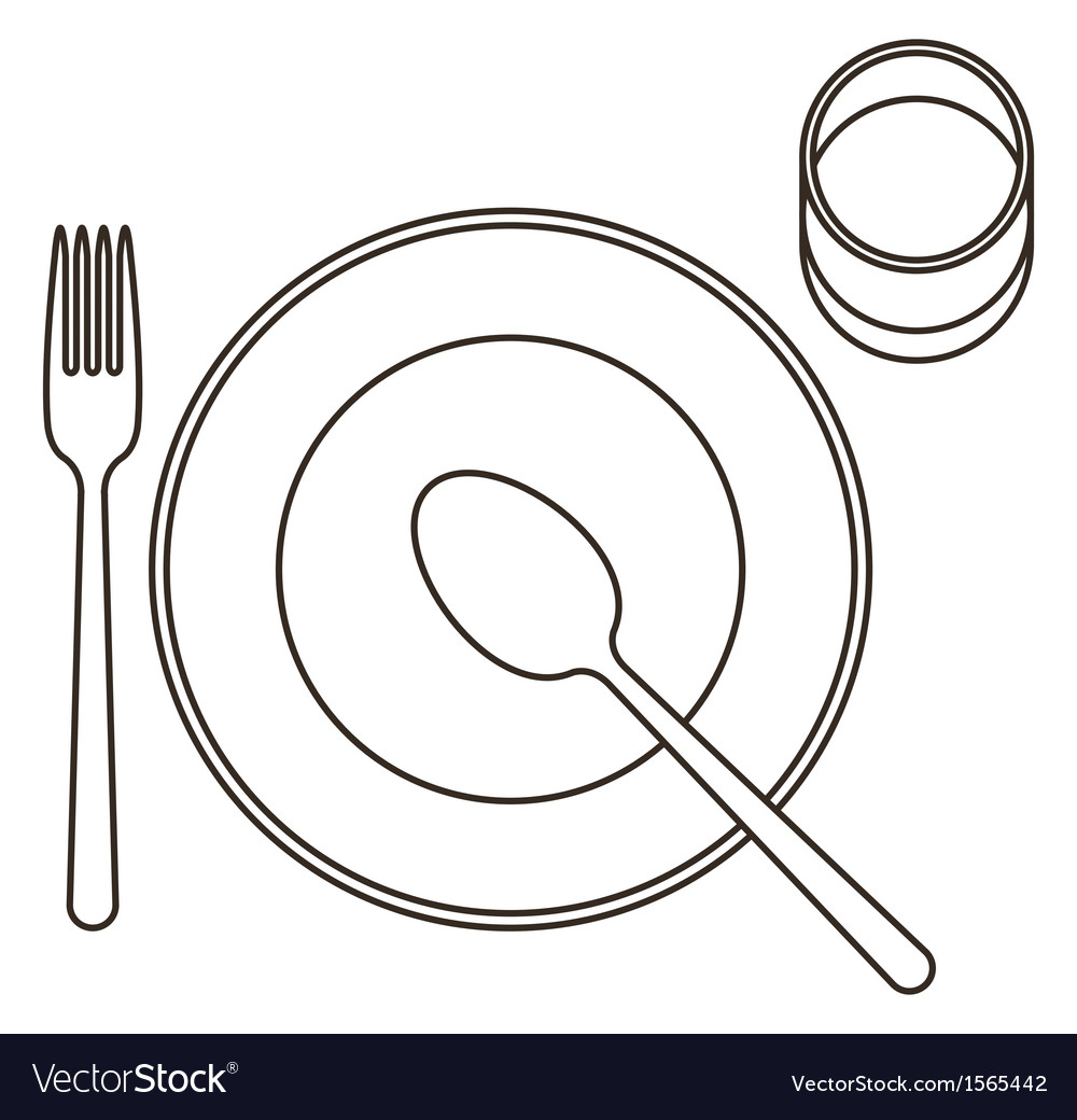 Place setting with plate spoon fork and glass vector | Price: 1 Credit (USD $1)