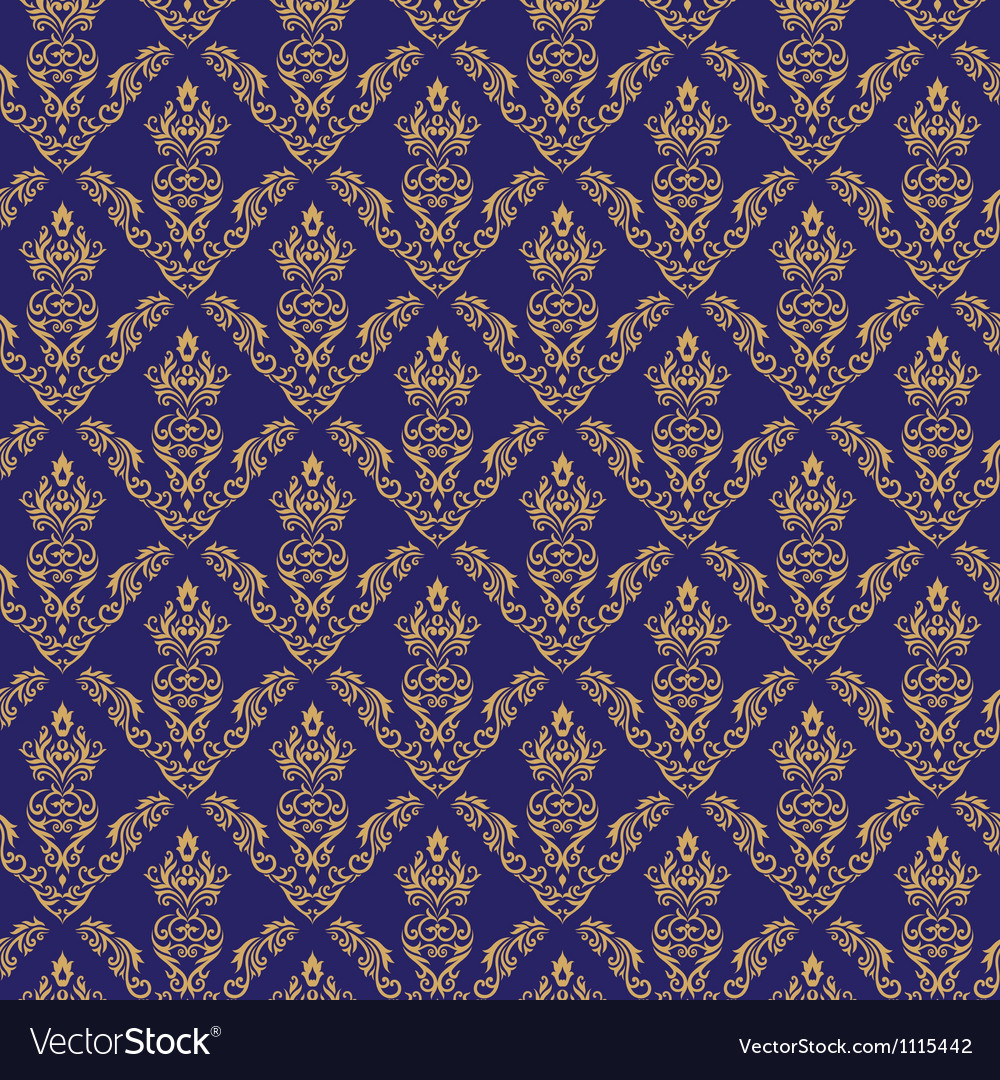 Seamless damask wallpaper 2 blue color vector | Price: 1 Credit (USD $1)