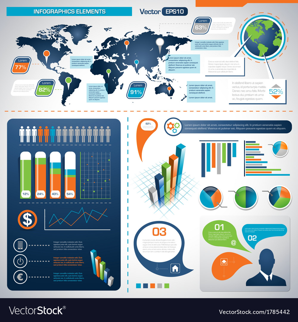 Set of infographic elements information graphics vector | Price: 1 Credit (USD $1)