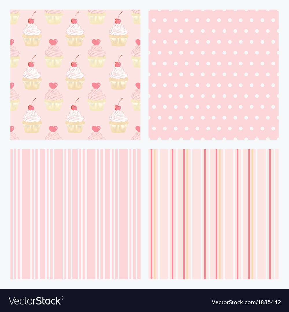 Set pink confectionery seamless background vector | Price: 1 Credit (USD $1)