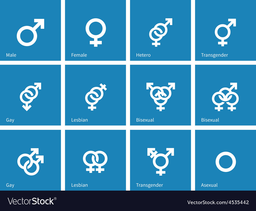 Sexual orientation icons on blue background vector | Price: 1 Credit (USD $1)