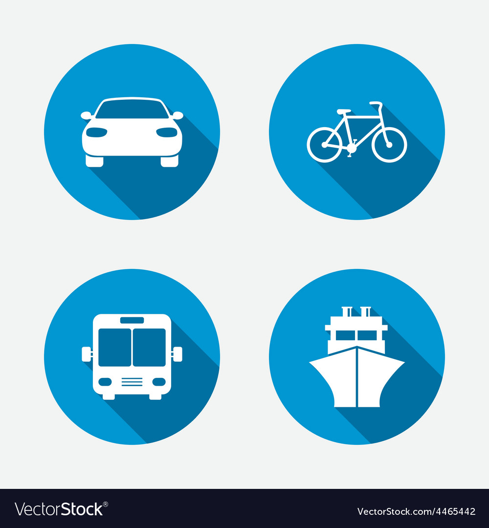 Transport icons car bicycle bus and ship vector | Price: 1 Credit (USD $1)