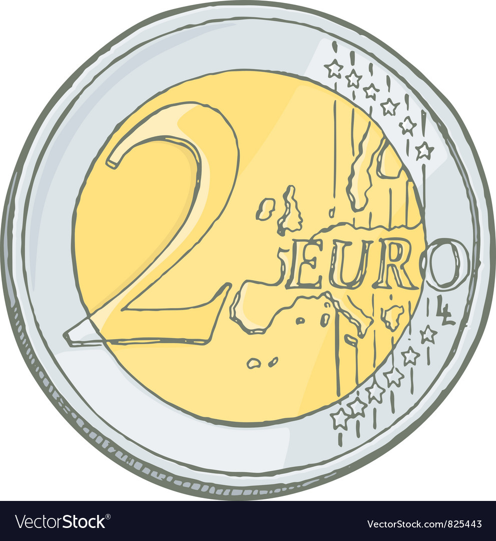 2euro coin sketch vector | Price: 1 Credit (USD $1)