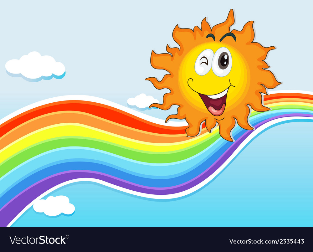 A smiling sun near the rainbow vector | Price: 1 Credit (USD $1)