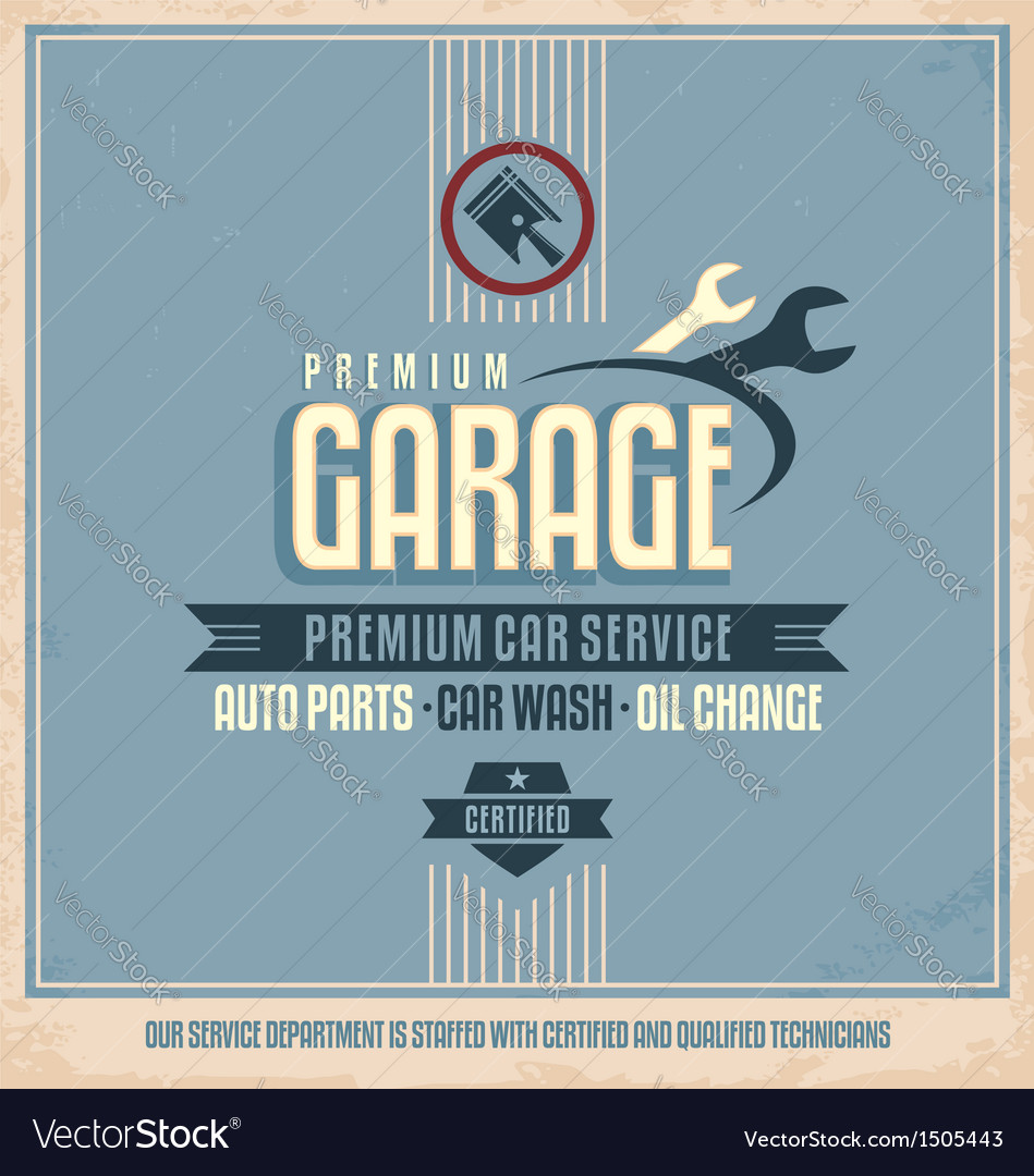 Auto service retro poster design vector | Price: 1 Credit (USD $1)