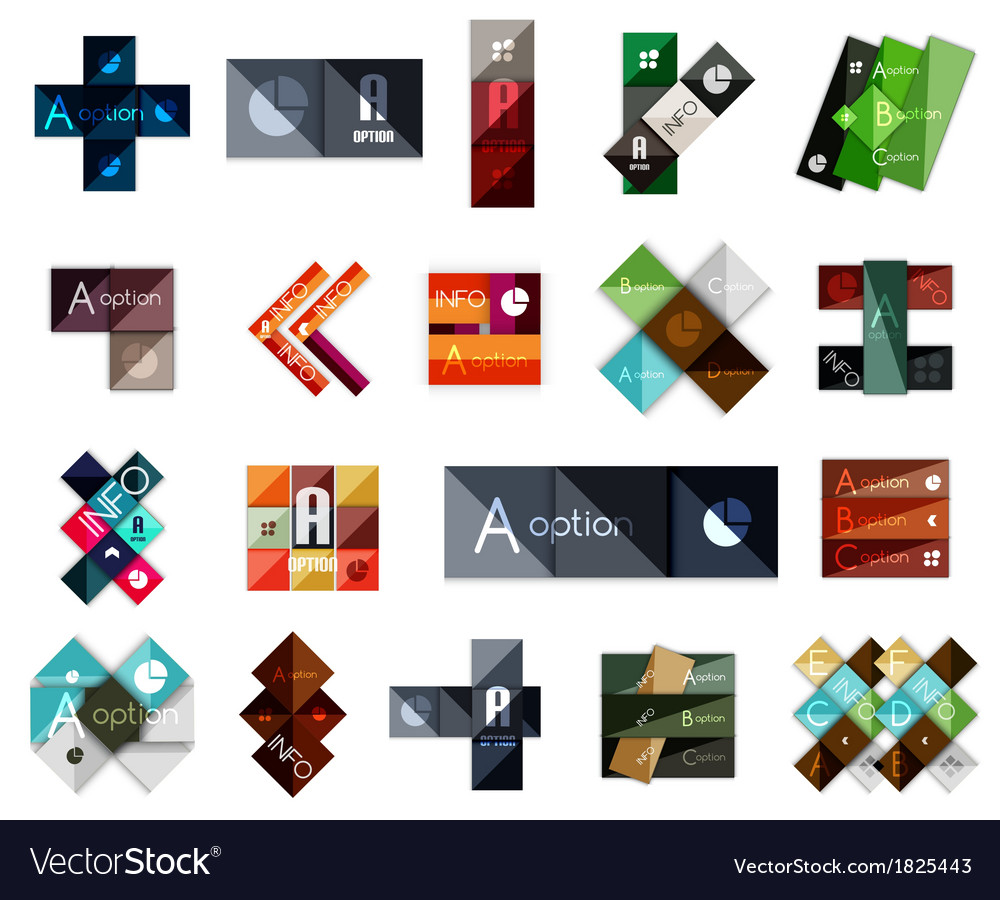 Big set of modern business square templates vector | Price: 1 Credit (USD $1)