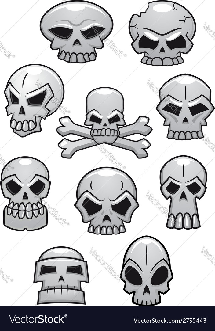 Cartoon halloween skulls vector | Price: 1 Credit (USD $1)