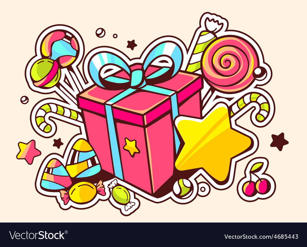 Gift box and confection on light backgro vector | Price: 3 Credit (USD $3)