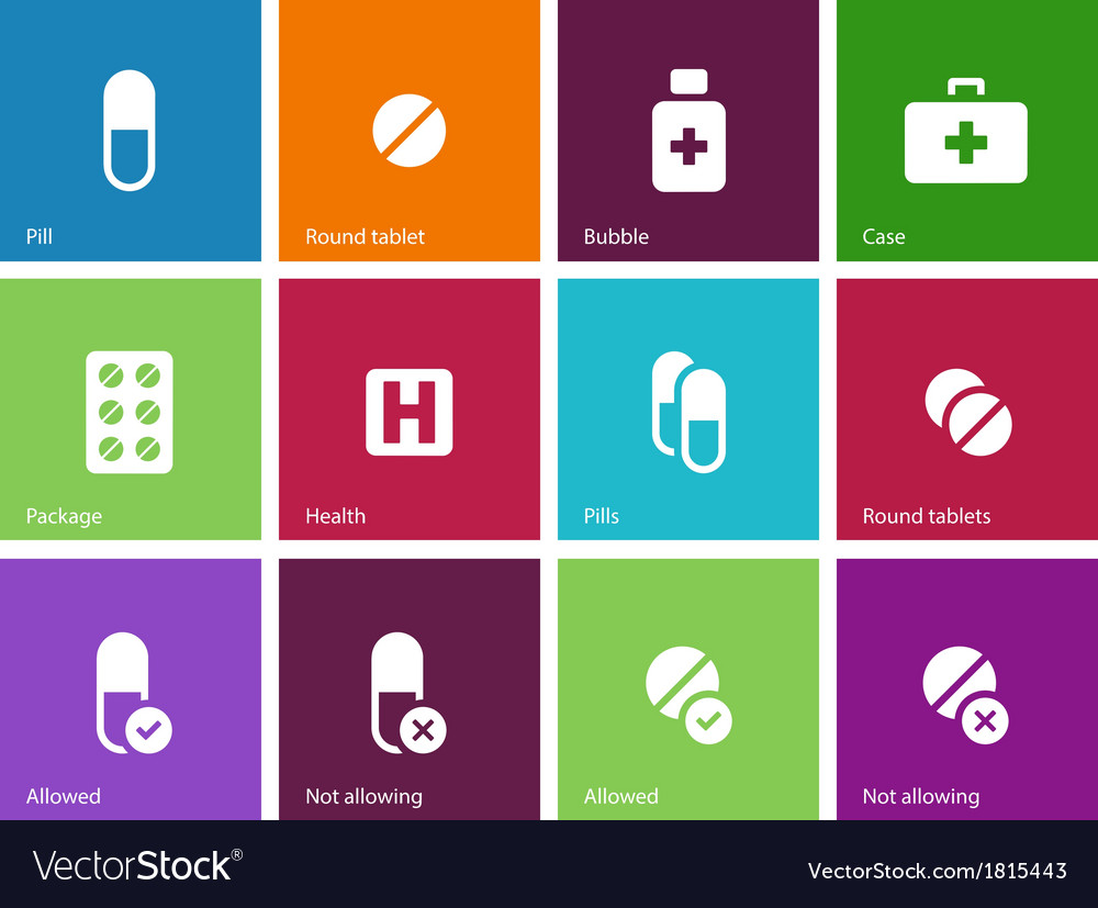 Pills medication icons on color background vector | Price: 1 Credit (USD $1)