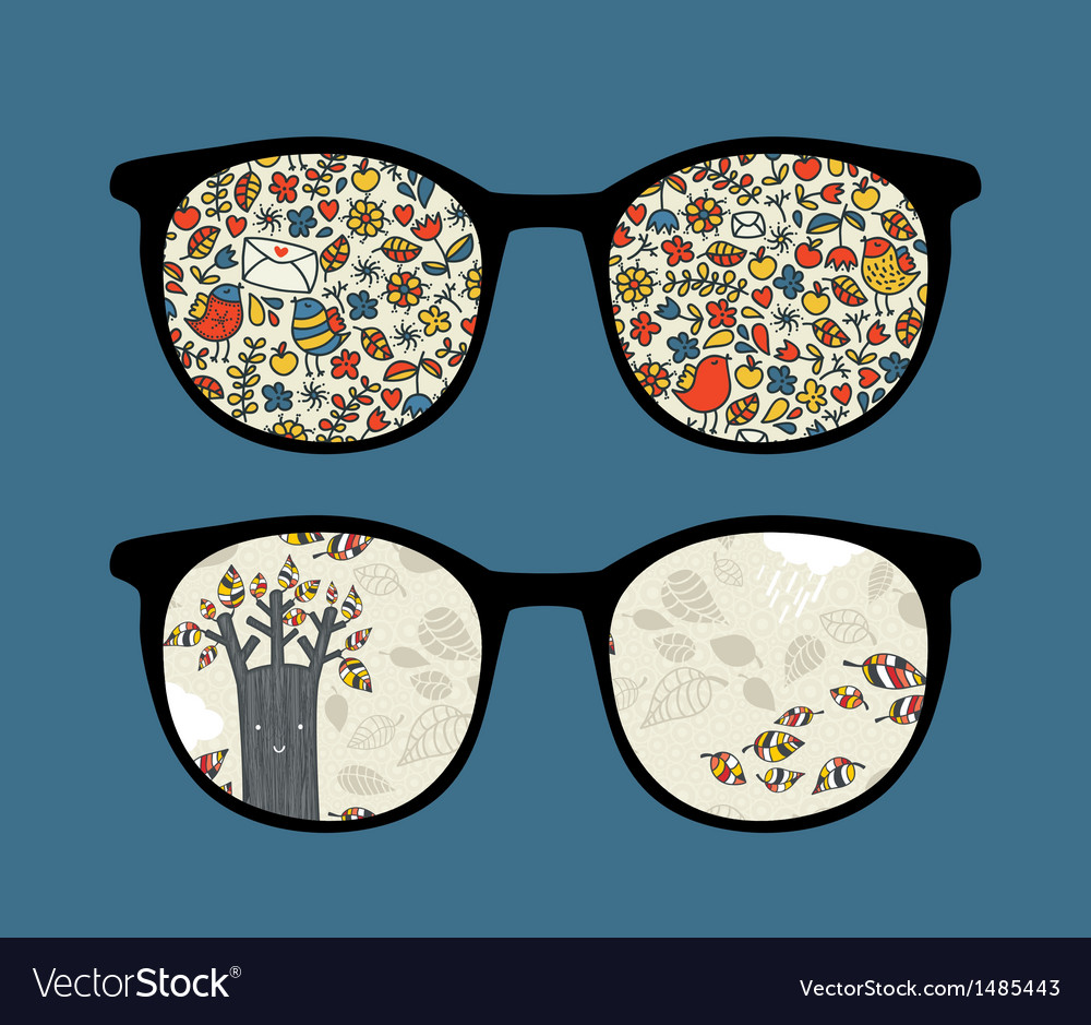 Retro sunglasses with nature reflection in it vector   Price: 1 Credit (USD $1)