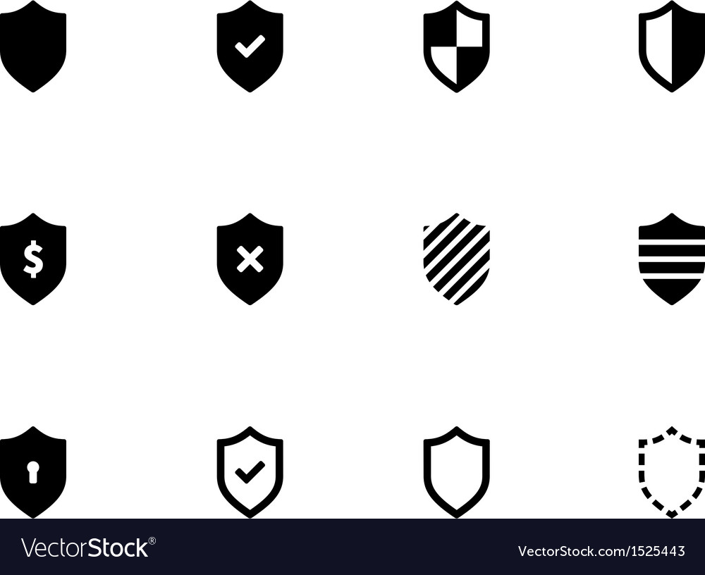 Shield icons on white background vector | Price: 1 Credit (USD $1)
