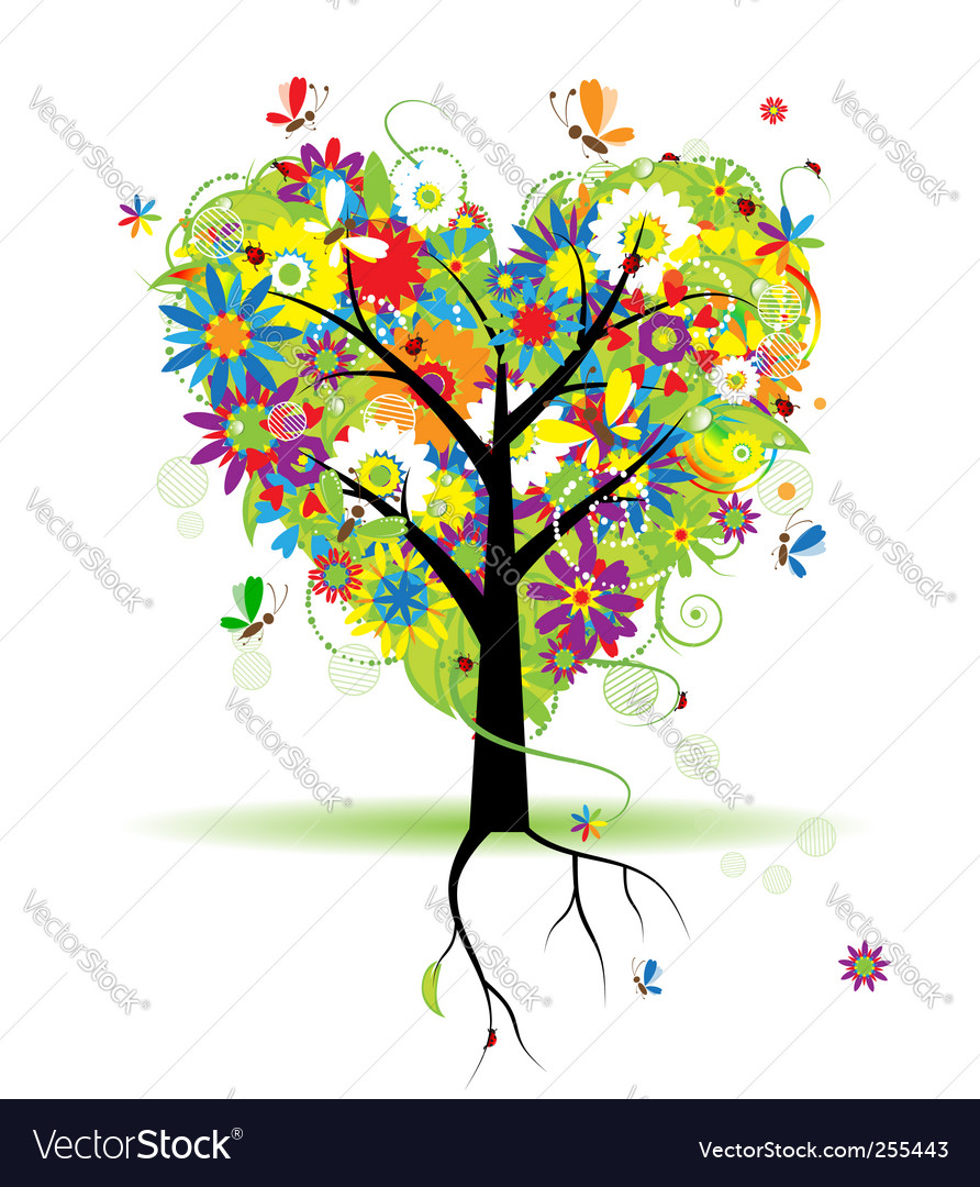 Summer floral tree heart shape vector | Price: 1 Credit (USD $1)