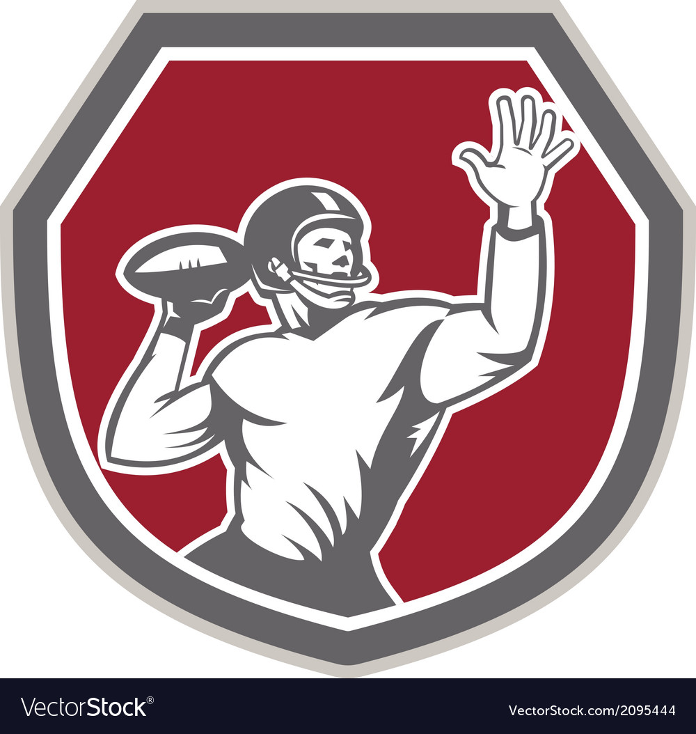 American football quarterback throw ball shield vector | Price: 1 Credit (USD $1)