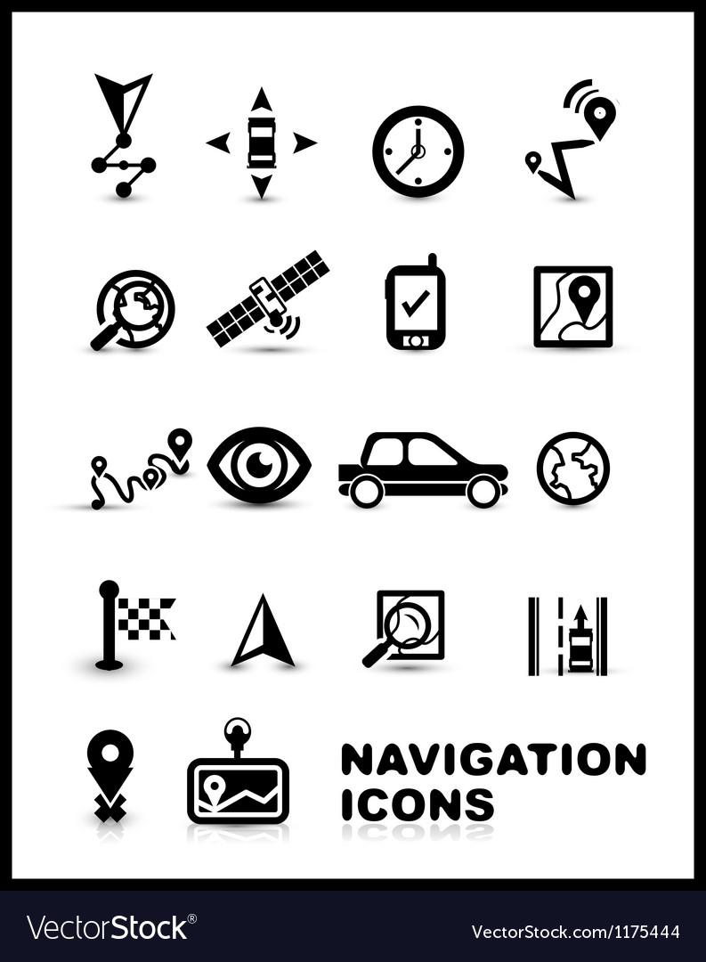 Black navigation icon set vector   Price: 1 Credit (USD $1)