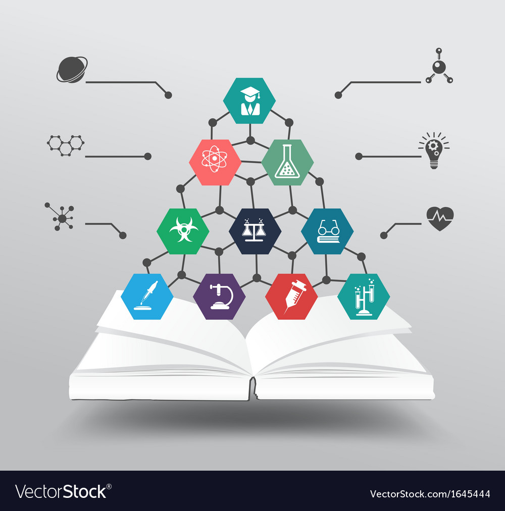 Book with chemistry and science icon vector | Price: 1 Credit (USD $1)