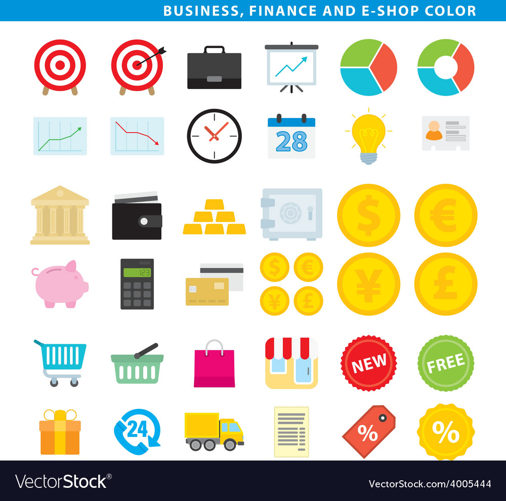 Business finance e shop color vector | Price: 1 Credit (USD $1)