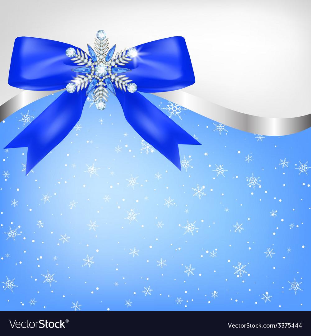 Diamond snowflake with bow vector | Price: 1 Credit (USD $1)