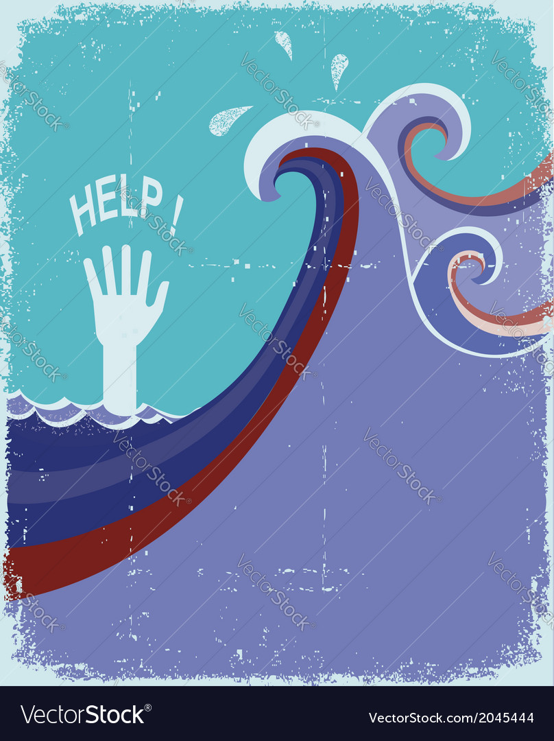 Hand of drowning in blue sea waves vector | Price: 1 Credit (USD $1)