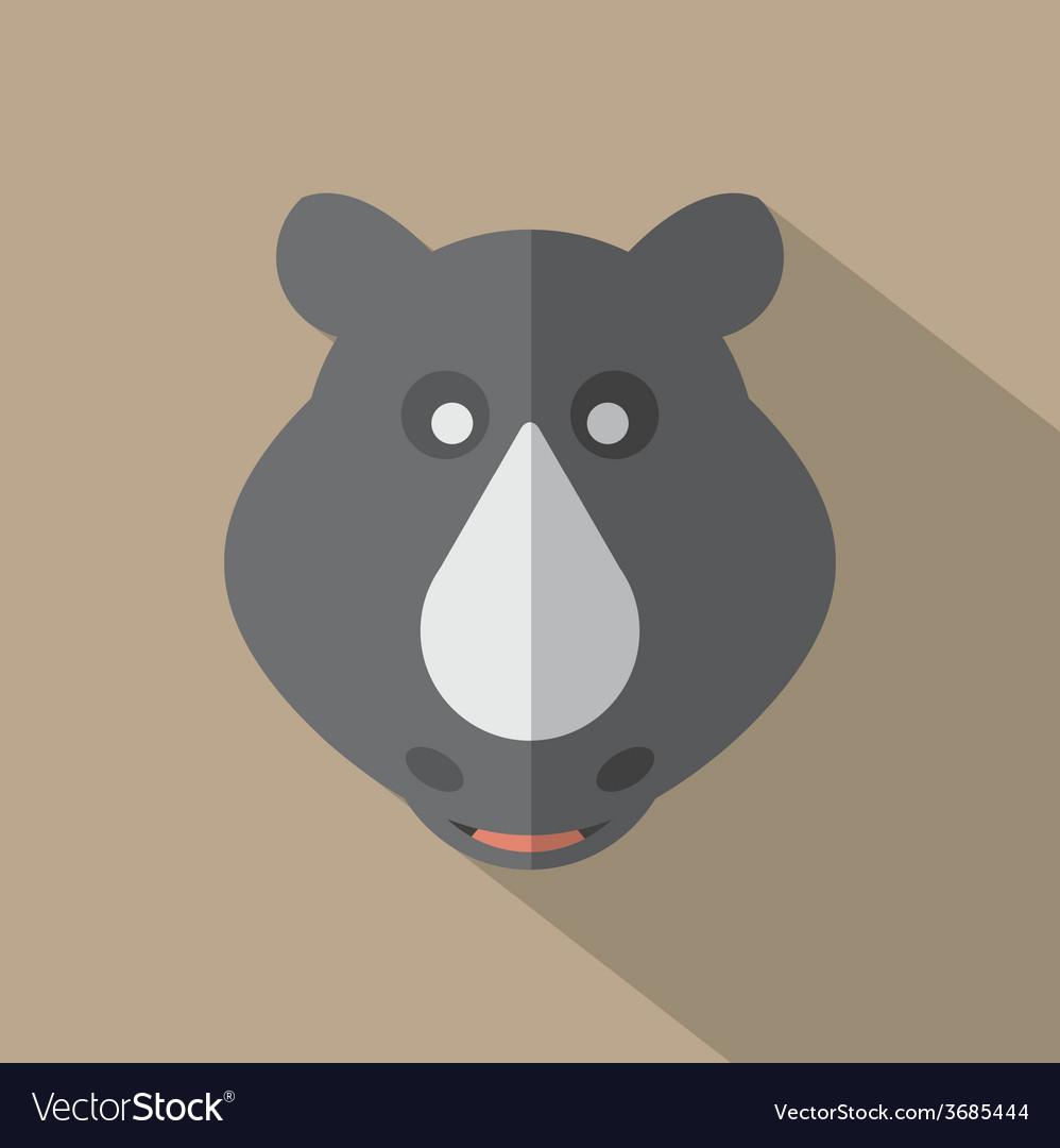Modern flat design rhino icon vector | Price: 1 Credit (USD $1)