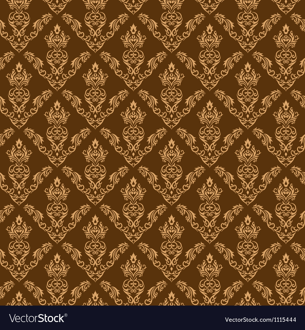 Seamless damask wallpaper 2 cream color vector | Price: 1 Credit (USD $1)