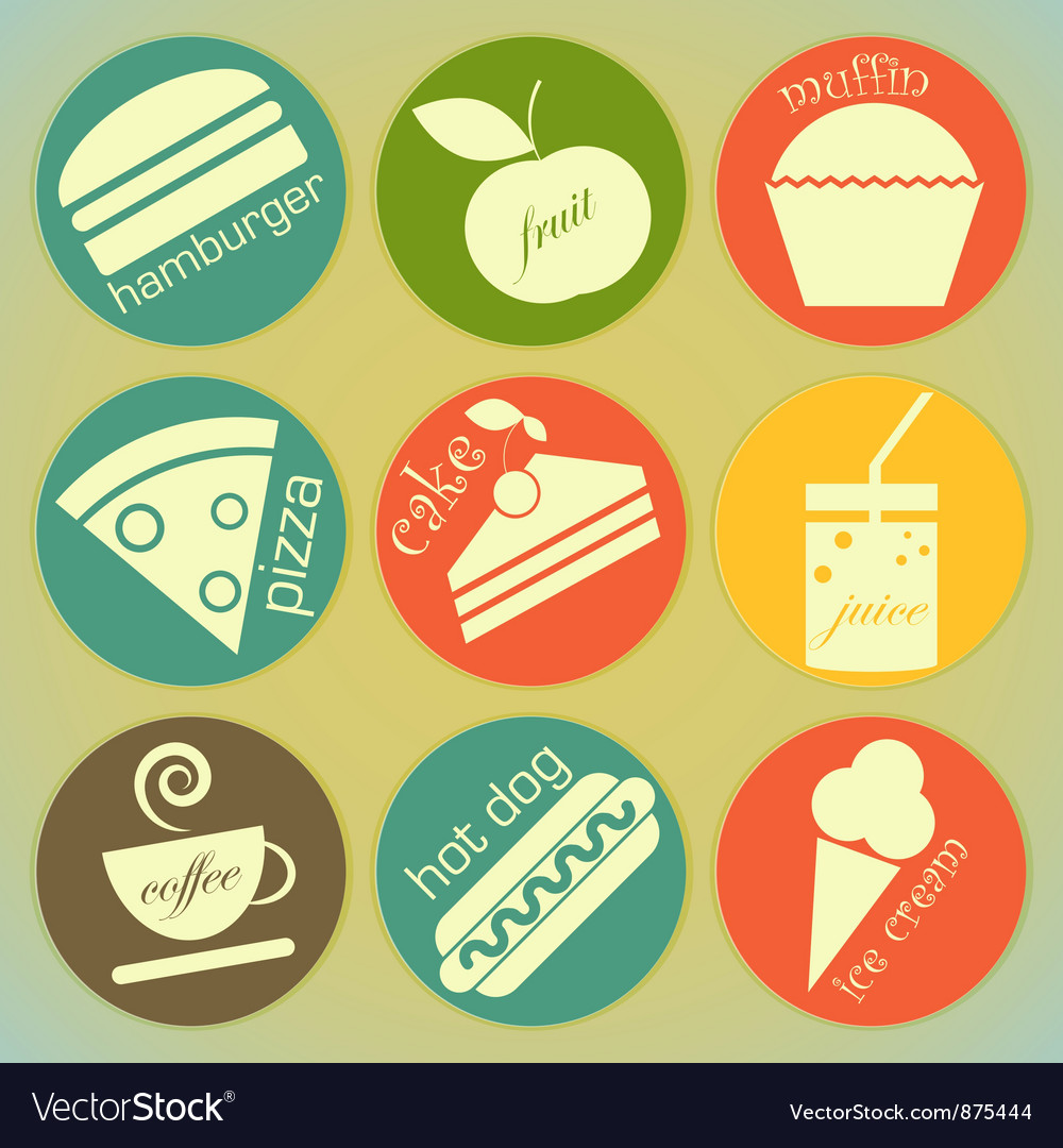 Set of vintage food round labels vector | Price: 1 Credit (USD $1)
