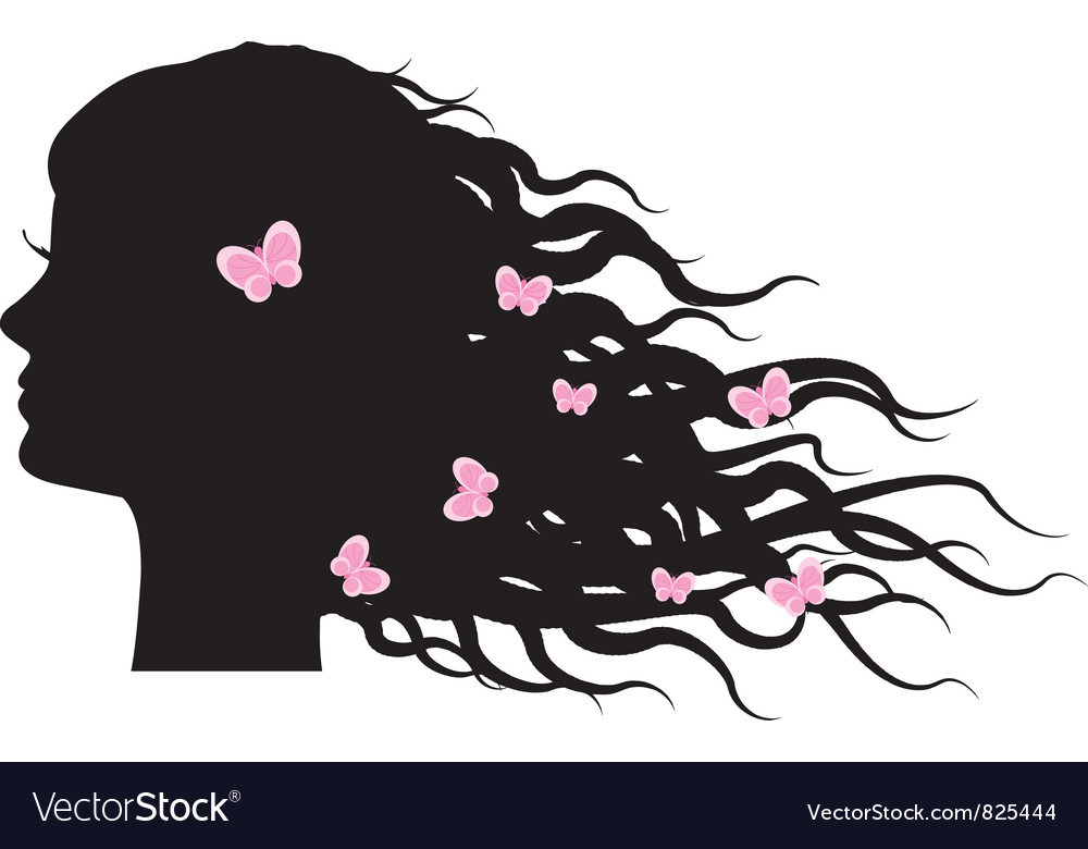Silhouette of girl with butterflies in hair vector | Price: 1 Credit (USD $1)