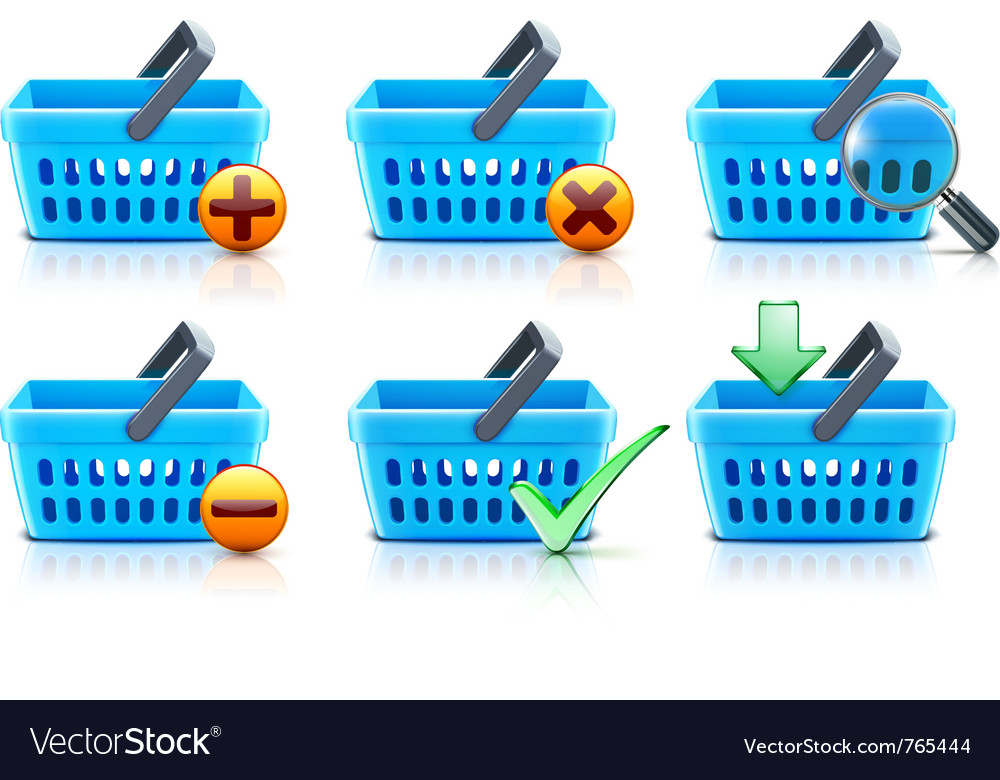 Supermarket shopping baskets vector | Price: 3 Credit (USD $3)