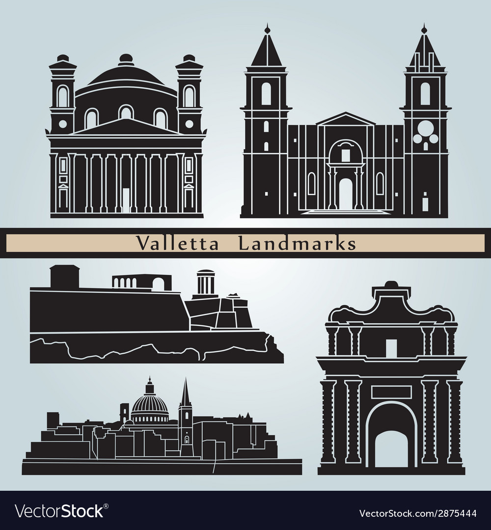 Valletta landmarks and monuments vector | Price: 1 Credit (USD $1)