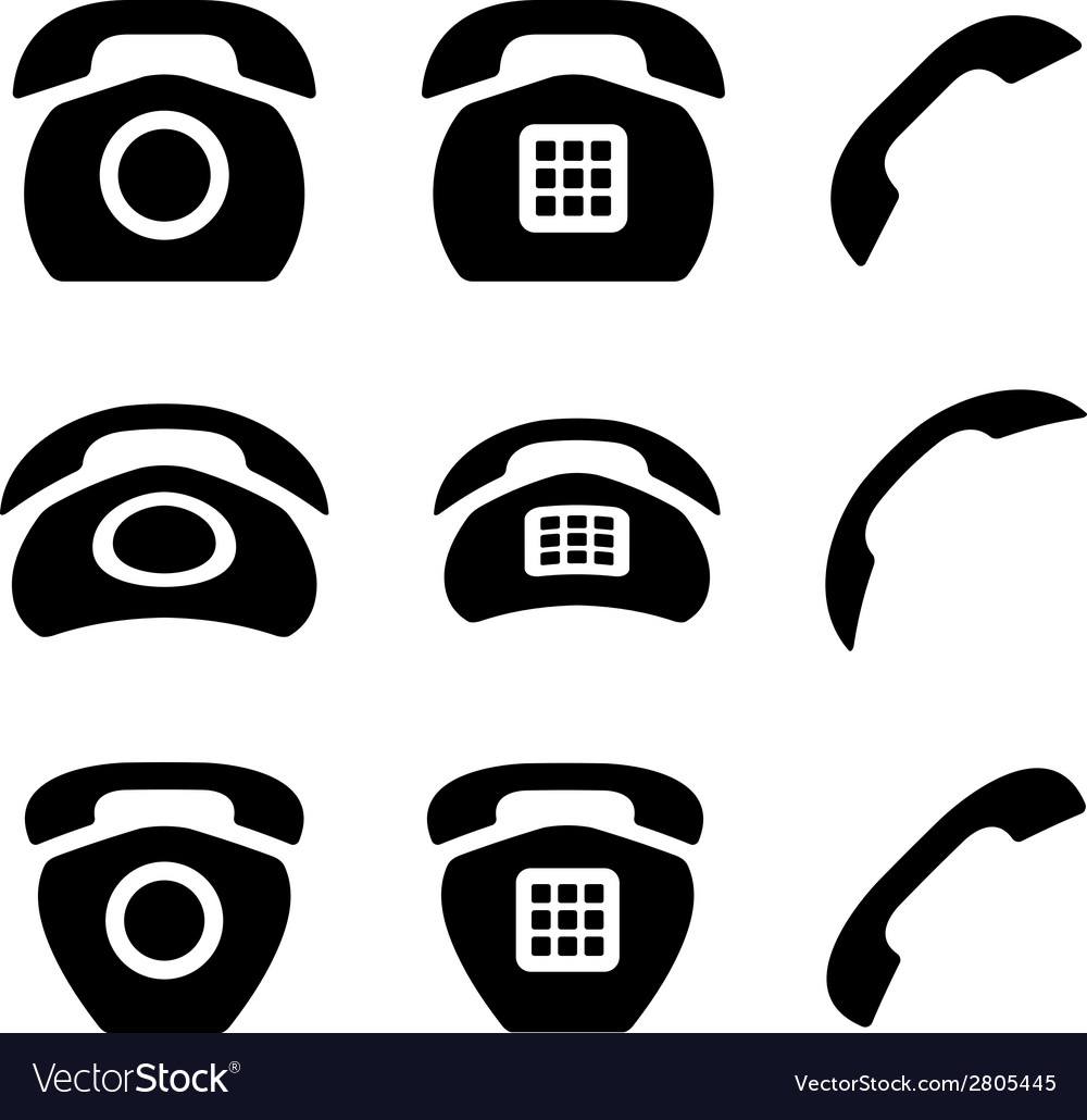 Black old phone and receiver icons vector | Price: 1 Credit (USD $1)