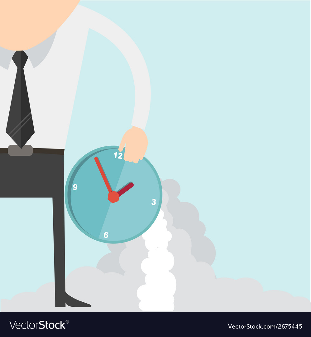 Cartoon businessman with clock concept vector | Price: 1 Credit (USD $1)