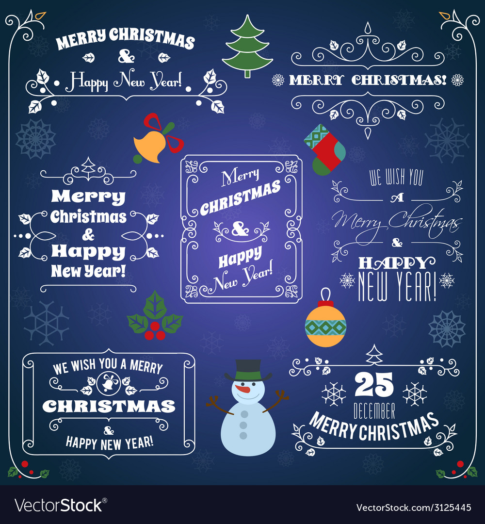 Christmas typographic labels set vector | Price: 1 Credit (USD $1)