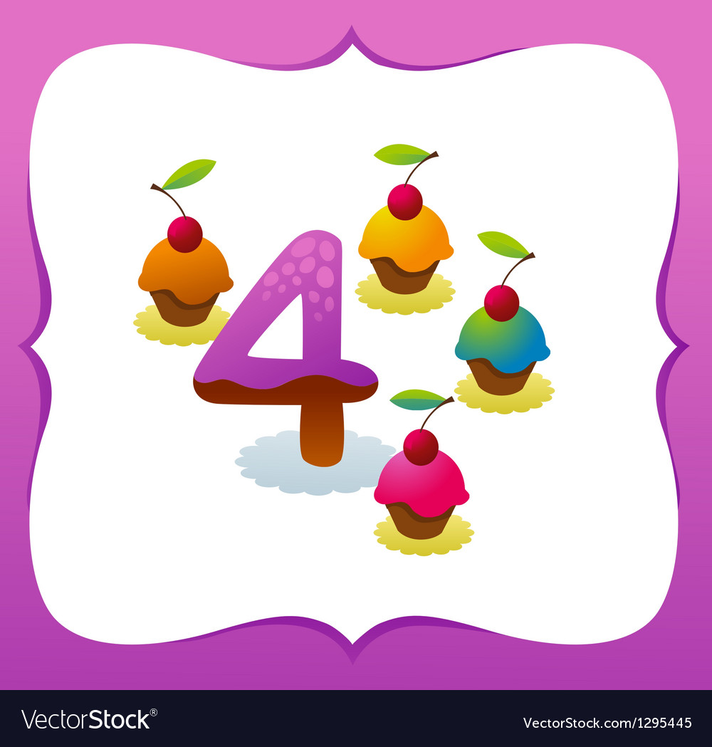 Collection sweet numbers for kids 4 vector | Price: 1 Credit (USD $1)