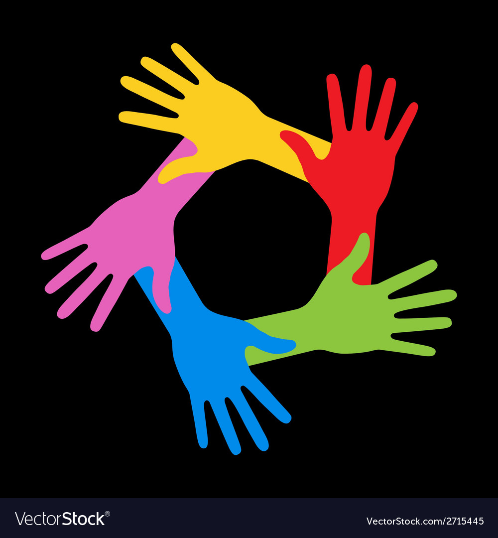 Colorful five hands icon on black background vector | Price: 1 Credit (USD $1)