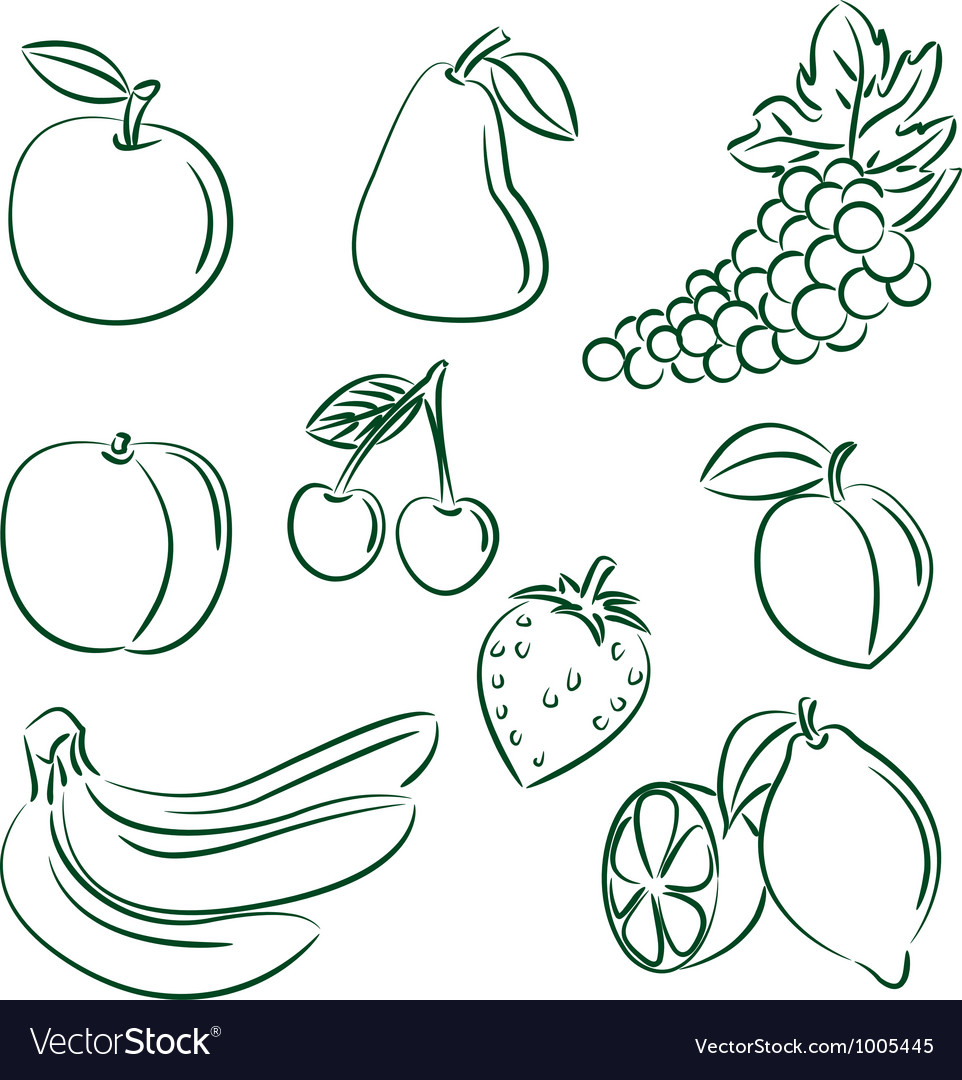 Fruit doodle set vector | Price: 1 Credit (USD $1)