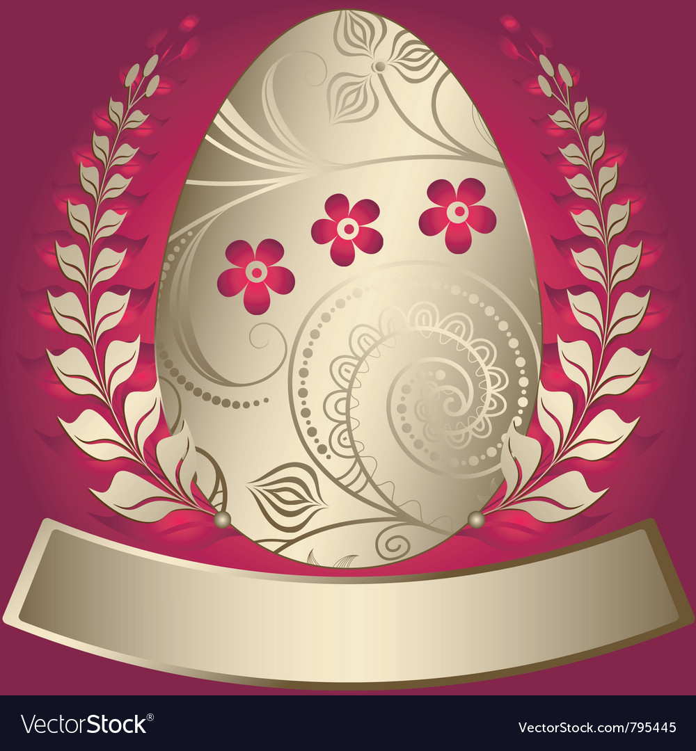 Gold elegance easter red frame vector | Price: 1 Credit (USD $1)