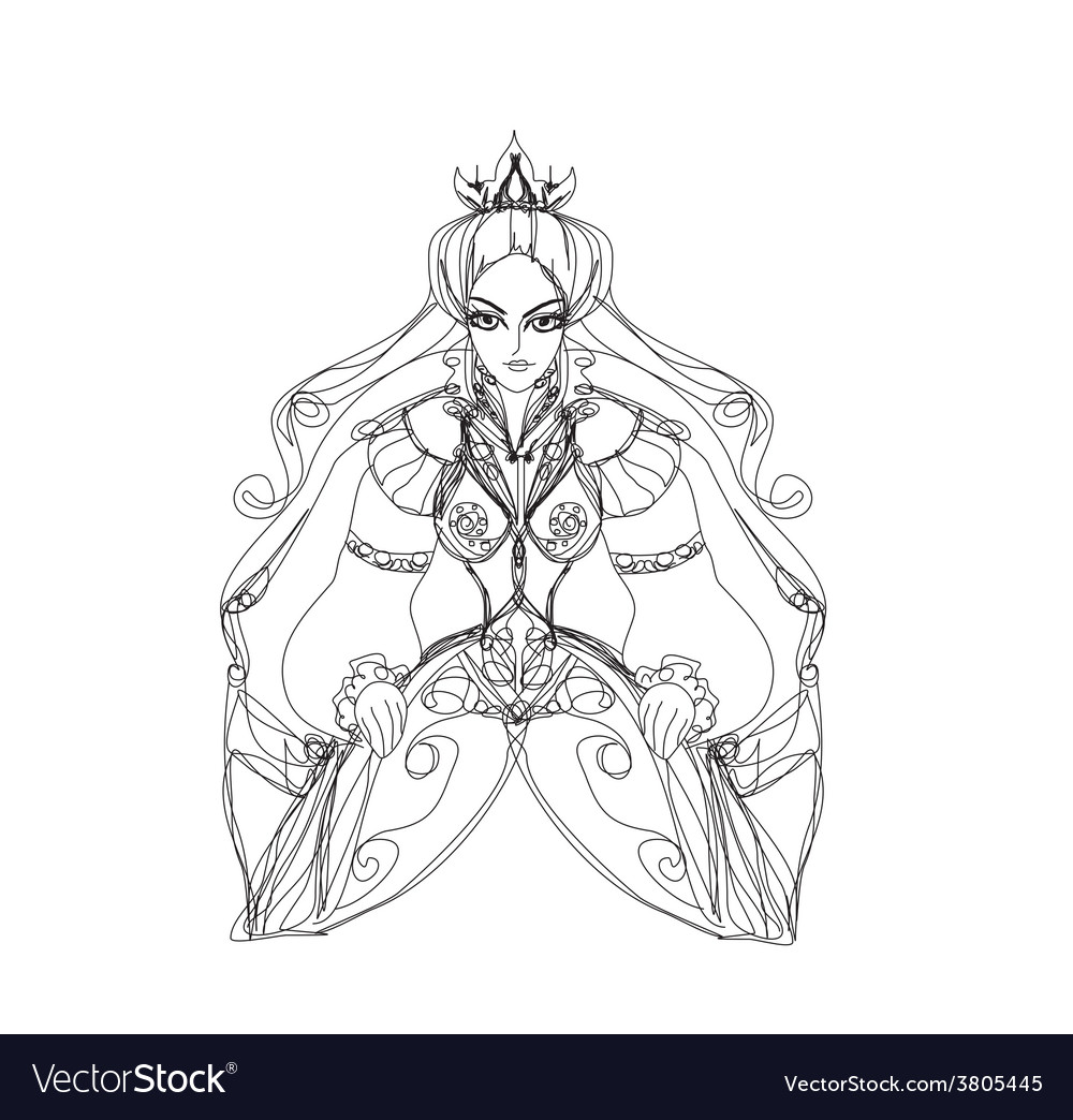 Her royal highness sitting on throne vector | Price: 1 Credit (USD $1)