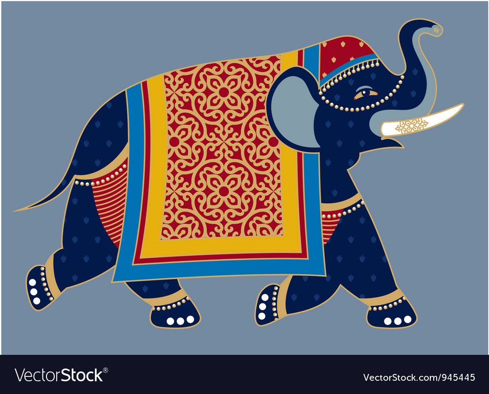 Indian decorated elephant vector | Price: 1 Credit (USD $1)