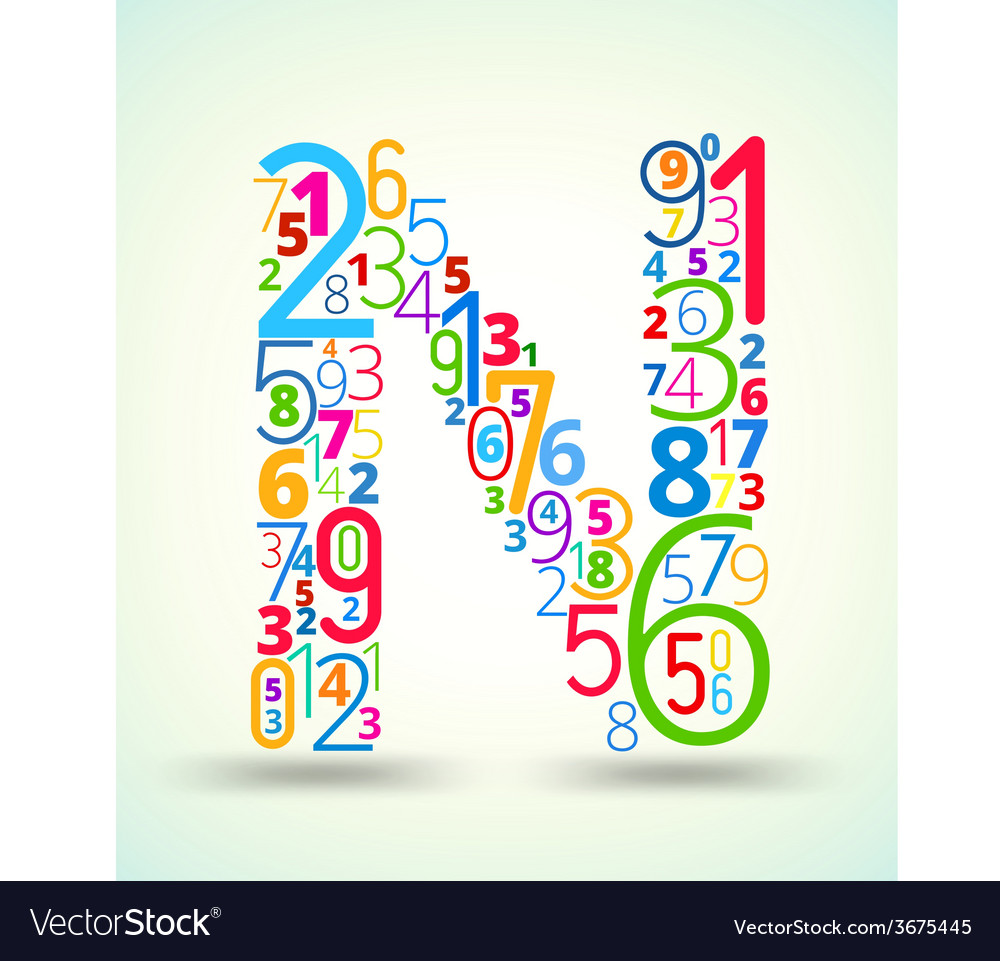 Letter n colored font from numbers vector | Price: 1 Credit (USD $1)