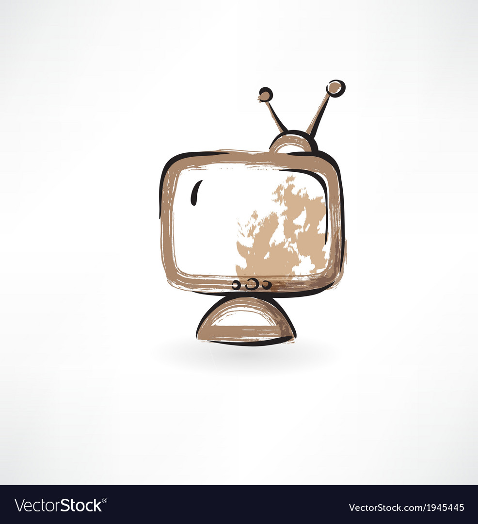 Old tv grunge icon vector | Price: 1 Credit (USD $1)