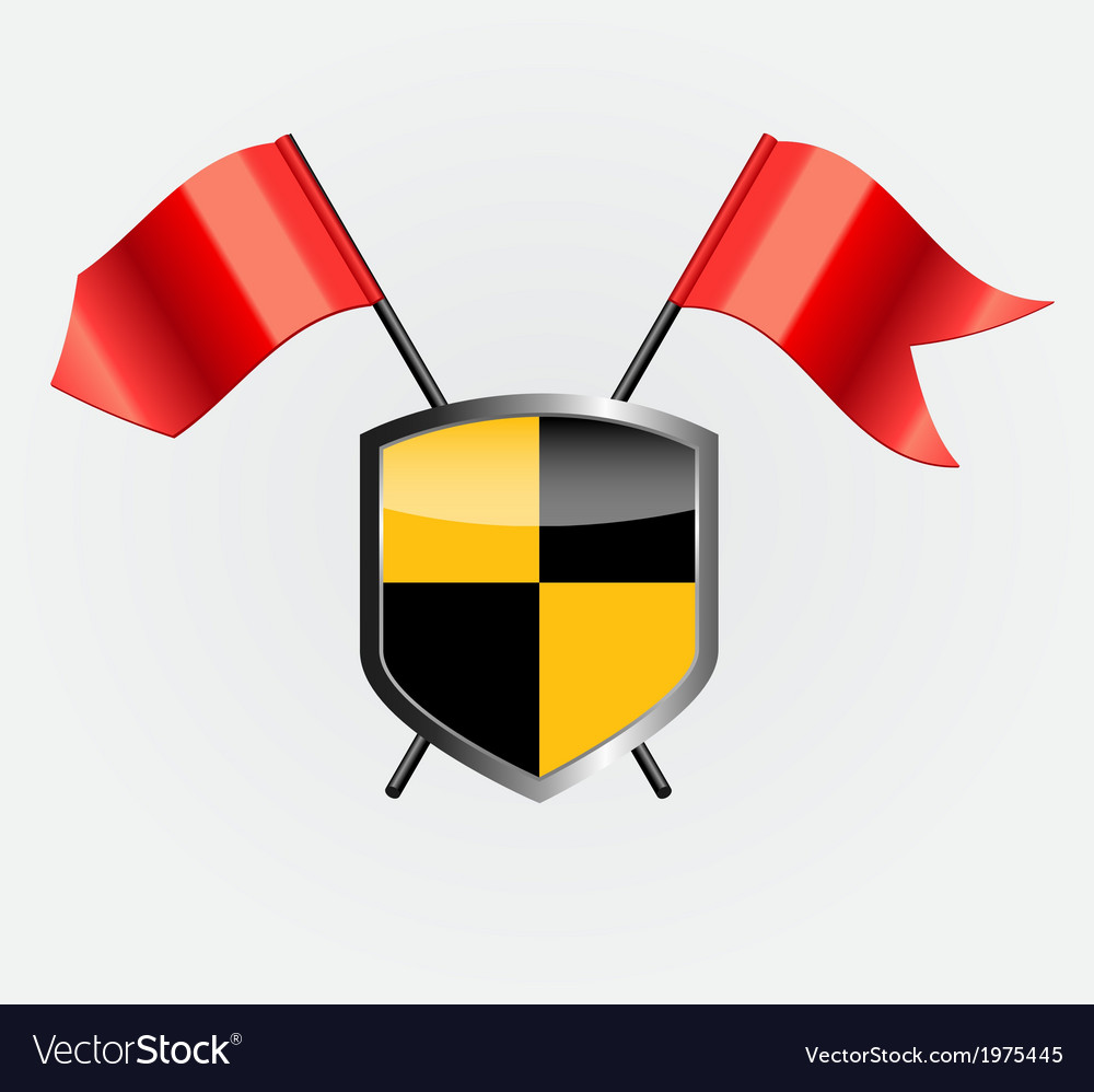 Protective shield with red flags vector | Price: 1 Credit (USD $1)