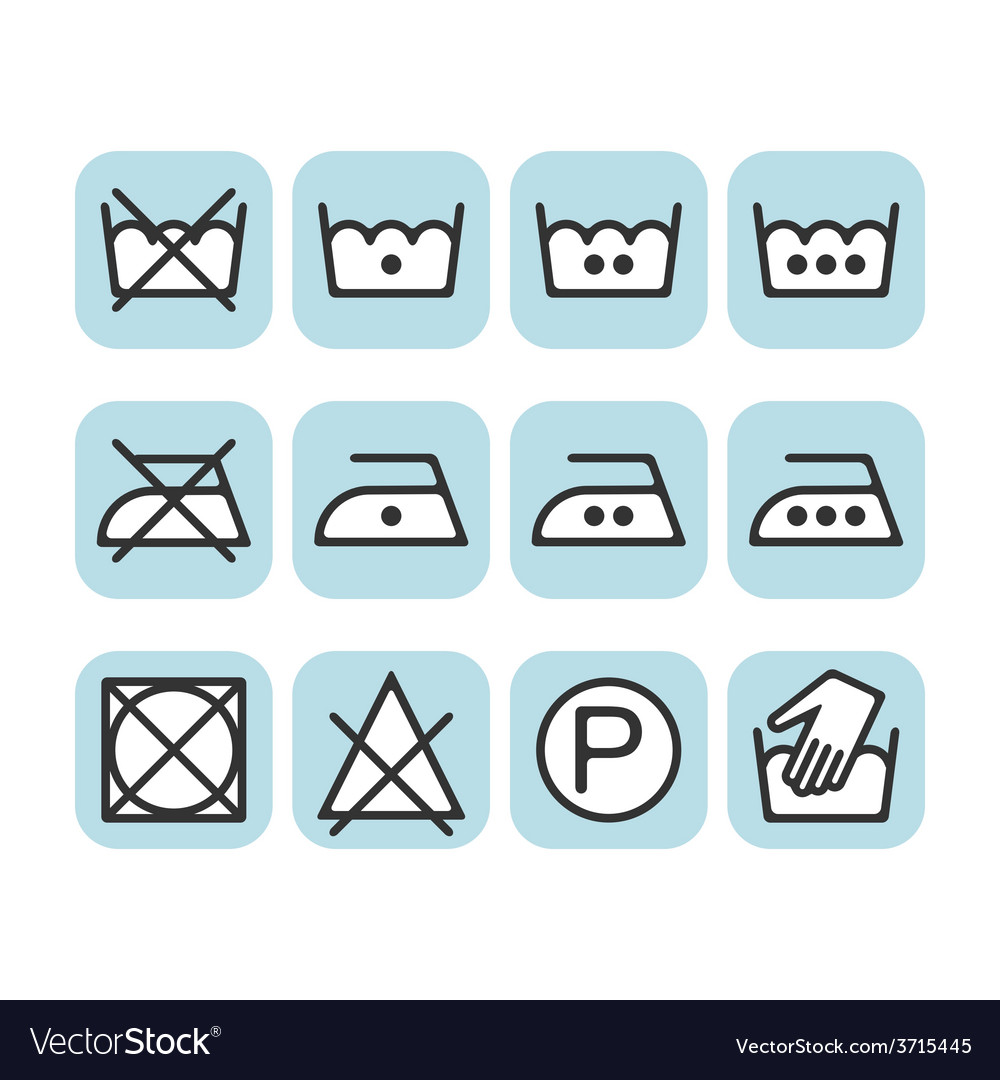 Set of instruction laundry icons care icons wash vector | Price: 1 Credit (USD $1)