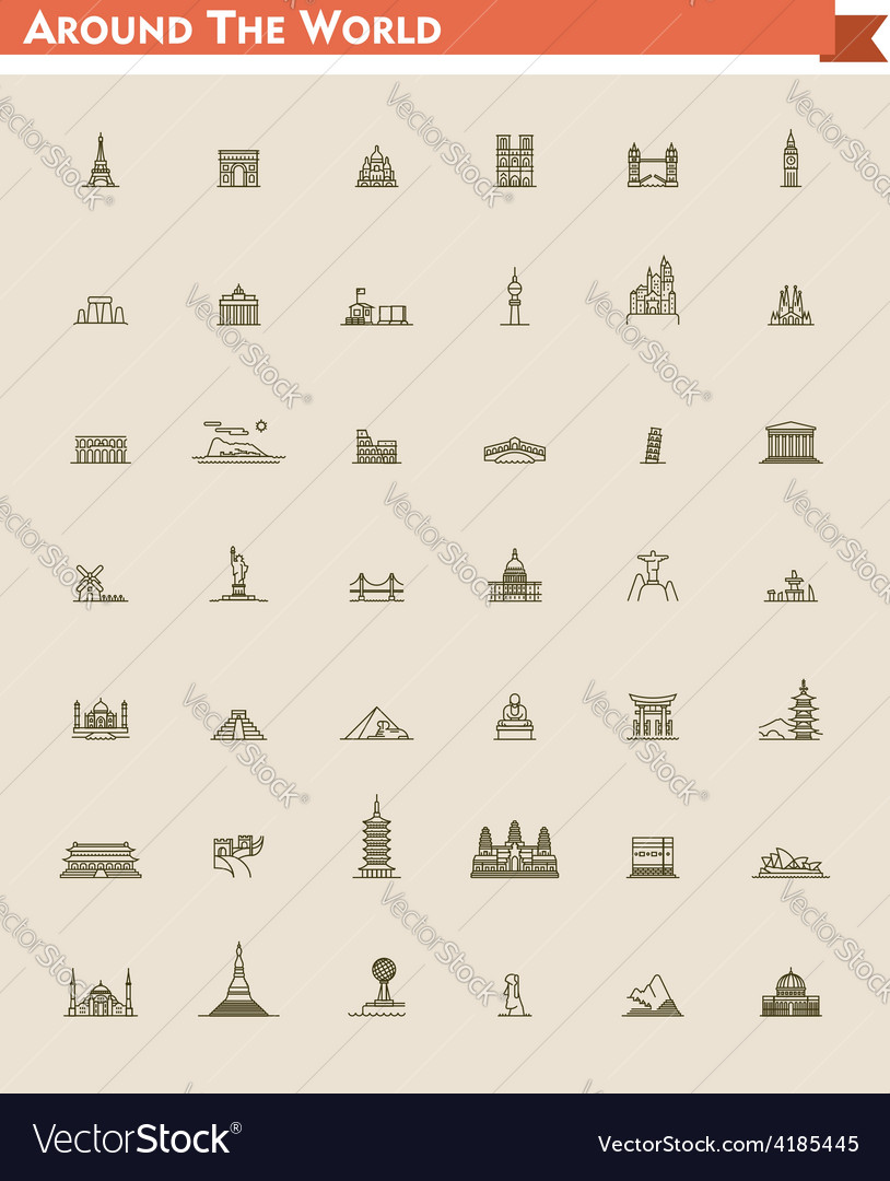 World landmarks set vector | Price: 1 Credit (USD $1)