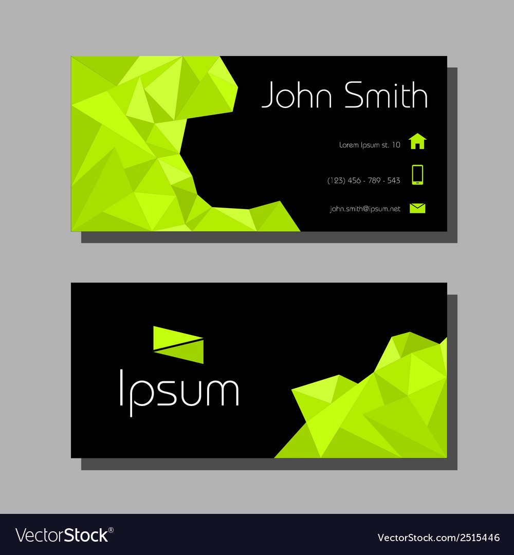 Business card polygon style - green and black vector | Price: 1 Credit (USD $1)