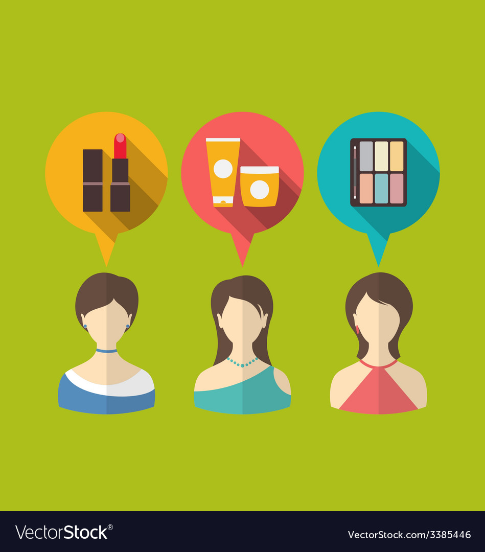 Flat icons of three woman with speech and thought vector | Price: 1 Credit (USD $1)