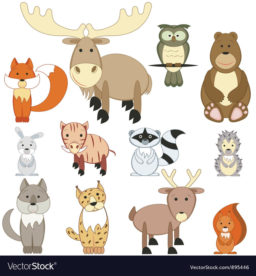 Forest animals set vector | Price: 3 Credit (USD $3)